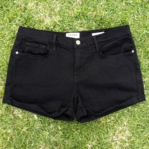 Frame Le Cutoff Denim Black Jean Shorts Size 28